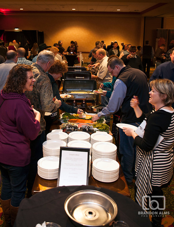 People in line for food at 417 Magazine's 2015 Whiskey Fest.