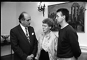 Brian Keenan's Sister Meets Minister Of Foreign Affairs.  (T6)..1989..07.09.1989..09.07.1989..7th September 1989..On the 11th April 1986, writer Brian Keenan was taken hostage in Beirut,he was kidnapped by a group purported to be the Islamic Jihad.As the British and American governments refused to negotiate with the kidnappers Mr Keenan was left in the hands of his abductors. As a holder of both Irish and British passports,his sisters, Elaine Spence and Brenda Gillham,pressed the Irish Government to intervene. At their behest the Irish Government opened talks with the Lebanese authorities to try and locate and free Mr Keenan. Elaine Spence visited the Department of Foreign Affairs to meet with Minister Collins to see what progress,if any, had been made...Image shows Ms Elaine Spence with Minister Collins (L) on her visit to the Dept of Foreign Affairs, Iveagh House, Dublin. We do not have a name for the gentleman on the right, if you know his name contact us at irishphotoarchive@gmail.com and we will gladly amend the caption.