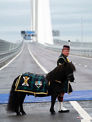 Opening of the Queensferry Crossing Bridge on 4 September 2017 at South Queensferry, Scotland, UK. : LCpl Cruachan IV, the mascot of the 2nd Battalion The Royal Regiment of Scotland is paraded on the Queensferry Crossing before the arrival of Queen Elizabeth II, on September 4, 2017 in South Queensferry, Scotland