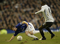 Photo: Aidan Ellis.<br /> Everton v Chelsea. The FA Cup. 28/01/2006.<br /> Everton's Gary Naysmith battles withChelsea's Carlton Cole