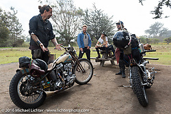 Michael Barragan, Cassandra Barragan and friends in the TROG West campground - The Race of Gentlemen. Pismo Beach, CA, USA. Sunday October 16, 2016. Photography ©2016 Michael Lichter.