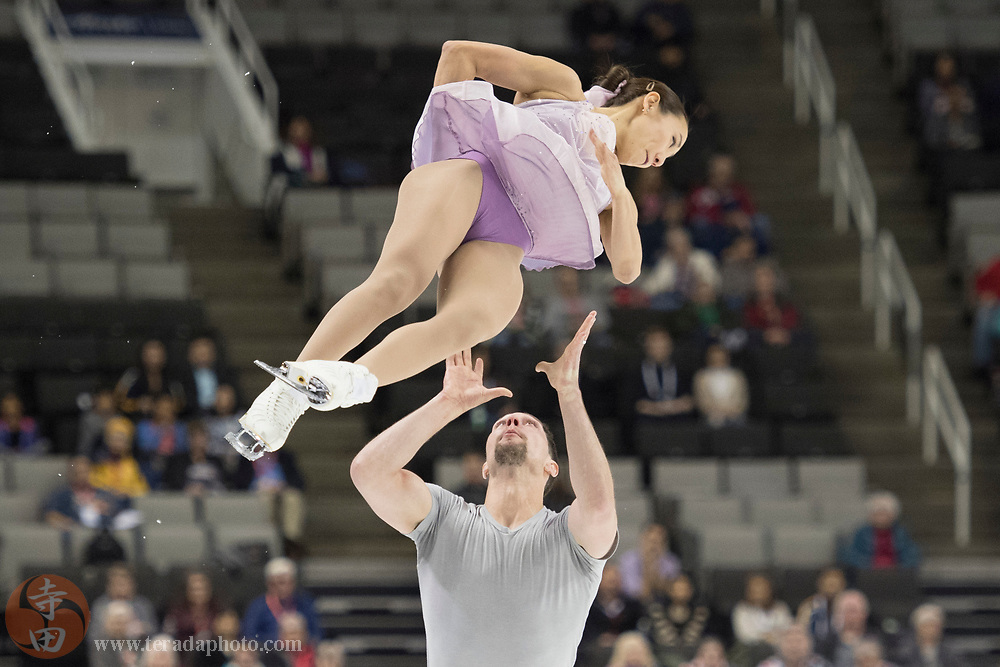January 4, 2018; San Jose, CA, USA; Erika Choi Smith and AJ Reiss performs in the pairs short program during the 2018 U.S. Figure Skating Championships at SAP Center.