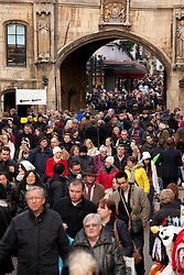 © Licensed to London News Pictures.09/12/2012. Lincoln,UK. On one of the busiest shopping weekends before Christmas, shoppers pack the streets of Lincoln. Pictured, the View to the arch on Clasketgate in the centre of Lincoln. Photo credit : Dave Warren/LNP