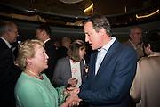 STEVE HILTON' MOTHER HAJNI HILTON AND DAVID CAMERON, Launch of ' More Human'  by Steve Hilton. Second Home, Shoreditch. London. 19 May 2015.