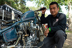 Japanese custom bike builder Chica (Yasuyoshi Chikazawa) with a new custom build at the Born-Free Vintage Motorcycle show at Oak Canyon Ranch, Silverado, CA, USA. Sunday, June 23, 2019. Photography ©2019 Michael Lichter.