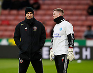 Alan Knill Assistant manager of Sheffield Utd and Dean Henderson of Sheffield Utd during the Premier League match at Bramall Lane, Sheffield. Picture date: 9th February 2020. Picture credit should read: Simon Bellis/Sportimage