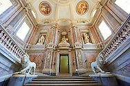 The Baroque Honour Grand Staircase entrance to the Bourbon Kings of Naples Royal Palace of Caserta, Italy. .<br /> <br /> Visit our ITALY HISTORIC PLACES PHOTO COLLECTION for more   photos of Italy to download or buy as prints https://funkystock.photoshelter.com/gallery-collection/2b-Pictures-Images-of-Italy-Photos-of-Italian-Historic-Landmark-Sites/C0000qxA2zGFjd_k<br /> <br /> <br /> Visit our EARLY MODERN ERA HISTORICAL PLACES PHOTO COLLECTIONS for more photos to buy as wall art prints https://funkystock.photoshelter.com/gallery-collection/Modern-Era-Historic-Places-Art-Artefact-Antiquities-Picture-Images-of/C00002pOjgcLacqI