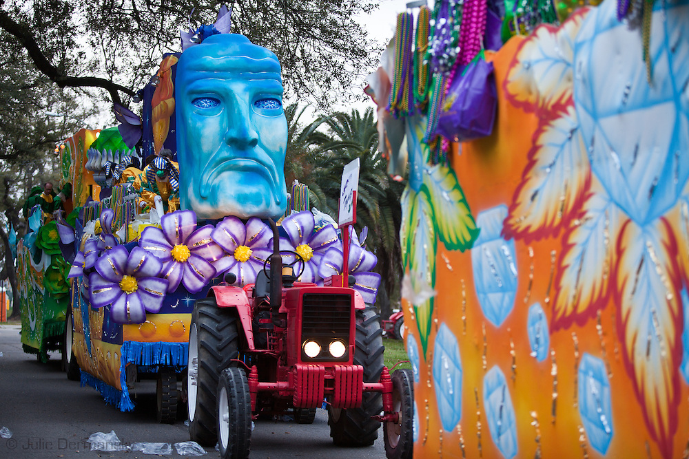 Float  lined up in the Krewe of Babylon Parade to role . Mardi Gras 2011 in New Orleans is expected to be have the largest attendance of all time due to the dates overlapping with college spring break. Mardi Gras also known as Carnival begins on or after Epiphany and ending on the day before Ash Wednesday.