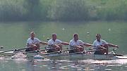 Lucerne, Switzerland. 1995 FISA WC III, Lake Rotsee, Lucerne,<br /> GER M4X. Andre WILLMS, stroke,<br /> [Mandatory Credit. Peter SPURRIER/Intersport Images]<br /> <br /> Image scanned from Colour Negative