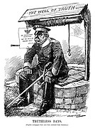 Truthless Days. [English newspapers have now been excluded from Germany.] (a WW1 cartoon shows a German officer sitting ontop of The Well of Truth where a notice reads The Fatherland - Invincible - Not An Inch Of Ground Lost - Official)