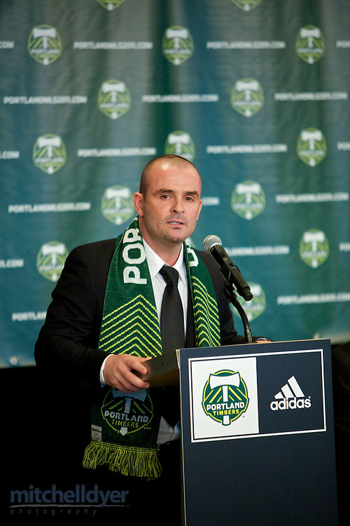 Press Conference to announce new Timbers MLS head coach John Spencer. Photo by Portland Oregon Photographer Craig Mitchelldyer www.craigmitchelldyer.com 503.513.0550