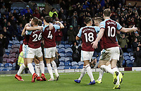 Burnley's Jack Cork (No.4) celebrates with team-mates  after his shot was deflected by James Tarkowski (left) to provide the opening goal<br /> <br /> Photographer Rich Linley/CameraSport<br /> <br /> The Premier League - Burnley v Brighton and Hove Albion - Saturday 8th December 2018 - Turf Moor - Burnley<br /> <br /> World Copyright © 2018 CameraSport. All rights reserved. 43 Linden Ave. Countesthorpe. Leicester. England. LE8 5PG - Tel: +44 (0) 116 277 4147 - admin@camerasport.com - www.camerasport.com