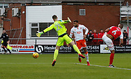 Blackpool's Curtis Tilt heads wide during the EFL Sky Bet League 1 match between Fleetwood Town and Blackpool at the Highbury Stadium, Fleetwood, England on 25 November 2017. Photo by Paul Thompson.