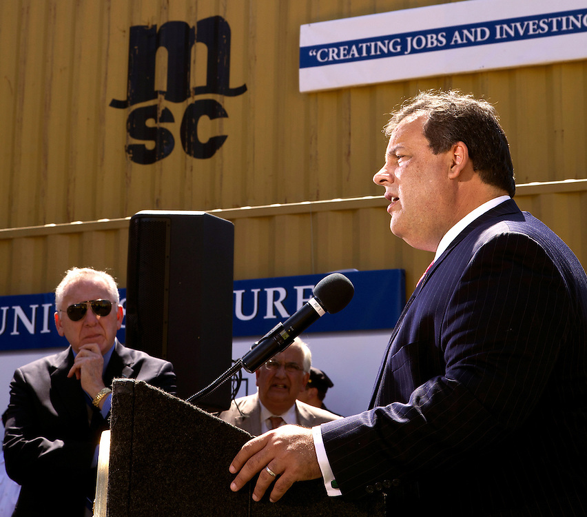 NJ Governor Chris Christie speaks at Port of Newark shipping container terminal