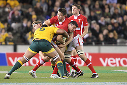 © Licensed to London News Pictures. 16/06/2012. Etihad Stadium, Melbourne Australia. Welsh player fight out of a tackle during the 2nd Rugby Test between Australia Wallabies Vs Wales . Photo credit : Asanka Brendon Ratnayake/LNP