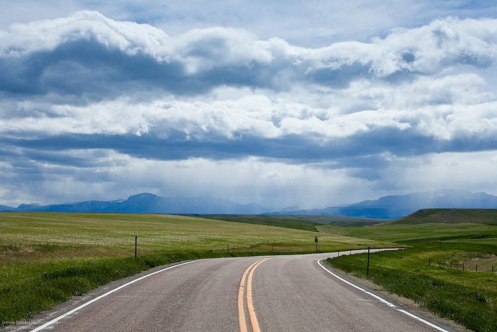 Storm ahead on US Route 89 in the Great Planis of northern Montana