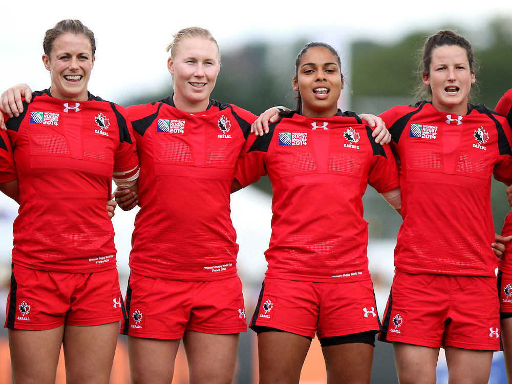 Canada during the anthem. England v Canada Pool A match at WRWC 2014 at Centre National de Rugby, Marcoussis, France, on 9th August 2014