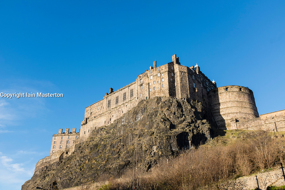 View of Edinburgh Castle on blue sky winer day in Scotland