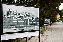 Photo of Breda Babosek Lorenci and Marjeta Pece during 80 metres hurdles in 60-ies during Opening ceremony of photo exhibition at 100 years Anniversary of Slovenian Athletic Federation, on September 17, 2020 in Tivoli park, Jakopicevo sprehajalisce, Ljubljana, Slovenia. Photo by Vid Ponikvar / Sportida