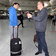 Turkish Basketball team Anadolu Efes's headcoach Dusan Ivkovic (R) and Thomas Heurtel (L) seen during their Ataturk Airport in Istanbul Turkey on Wednesday 25 November 2015. Photo by Kurtulus YILMAZ/TURKPIX