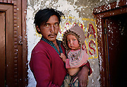 Father and daughter. Nako village, Spiti, India.