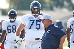 July 28, 2018 - Bourbonnais, IL, U.S. - BOURBONNAIS, IL - JULY 28: Chicago Bears offensive guard Kyle Long (75) participates in drills during the Chicago Bears training camp on July 28, 2018 at Olivet Nazarene University in Bourbonnais, Illinois. (Photo by Robin Alam/Icon Sportswire) (Credit Image: © Robin Alam/Icon SMI via ZUMA Press)