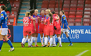 Chelsea celebrate goal *** during the FA Women's Super League match between Brighton and Hove Albion Women and Chelsea at The People's Pension Stadium, Crawley, England on 13 December 2020.
