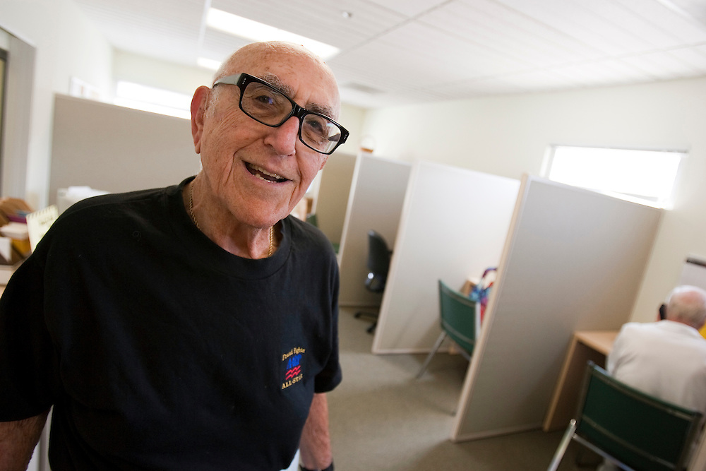 Al Weintraub volunteers as Fraud Fighters at the WISE and Healthy Aging facility in Santa Monica, CA where they phone senior citizens to warn them of phone fraud.