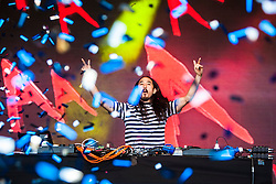 "Steve Aoki plays the main stage, Saturday at Rockness 2013, the annual music festival which took place in Scotland at Clune Farm, Dores, on the banks of Loch Ness, near Inverness in the Scottish Highlands. The festival is known as ""the most beautiful festival in the world"" ."
