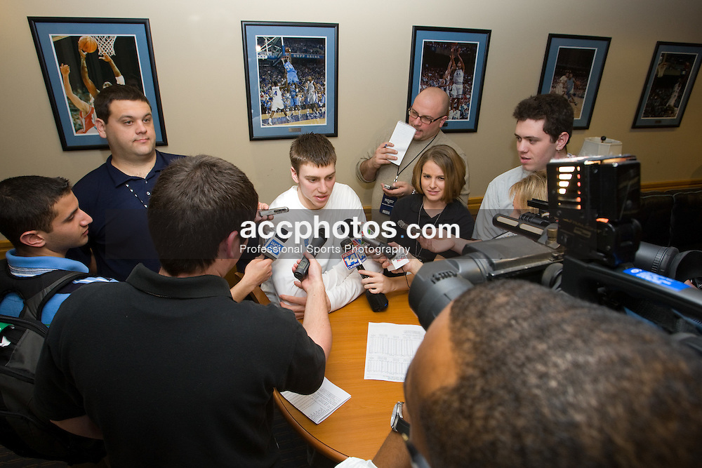 31 January 2008: North Carolina Tar Heels forward Tyler Hansbrough (50) after a 69-91 win over the Boston College Eagles does a post-game media interview at the Dean Smith Center in Chapel Hill, NC.
