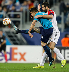 November 23, 2017 - Saint Petersburg, Russia - Sebastian Driussi (L) of FC Zenit Saint Petersburg and Boban Grncharov of FK Vardar vie for the ball during the UEFA Europa League Group L match between FC Zenit St. Petersburg and FK Vardar at Saint Petersburg Stadium on November 23, 2017 in Saint Petersburg, Russia. (Credit Image: © Mike Kireev/NurPhoto via ZUMA Press)