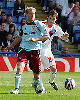 Crystal Palace FC vs Burnley FC Championship 23/08/08<br /> Photo Nicky Hayes/Fotosports International<br /> Christian Kalvenes of Burnley battles with John Oster of Palace.