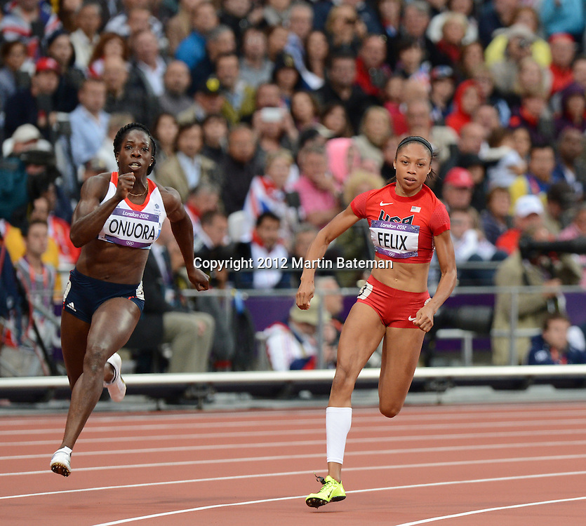Allyson Felix competes in the women's 200m at the London Olympics 6 August 2012