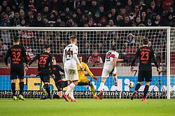 STUTTGART, Feb. 4, 2019  Stuttgart's Emiliano Insua (2nd R) scores during a German Bundesliga match between VfB Stuttgart and SC Freiburg in Stuttgart, Germany, Feb. 3, 2019. The match ended 2-2. (Credit Image: © Kevin Voigt/Xinhua via ZUMA Wire)