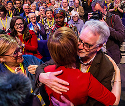 Pictured: Nicola Sturgeon  hugs her father with her mother by his side after her closing speech.<br /> <br /> Nicola Sturgeon topped the bill on the final day of th SNP conference<br /> The members of the SNP gathered in the Scottish Events Centre in Glasgow for their annual conference.<br /> <br /> Ger Harley | EEm 910 October 2017