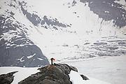 Dr. Tad Pfeffer, a glaciologist at the University of Colorado, installs a time lapse camera at the Columbia Glacier, near Valdez, Alaska.