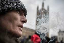 © Licensed to London News Pictures. 23/02/2018. London, UK. Parliament is wreathed in smoke from a joint during a demonstration in support of cannabis for medicinal use - as MPs debate it's use in The House of Commons. Photo credit: Peter Macdiarmid/LNP