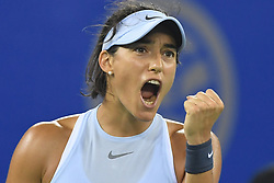 WUHAN, Sept. 30, 2017 Caroline Garcia of France celebrates during the singles final match against Ashleigh Barty of Australia at 2017 WTA Wuhan Open in Wuhan, capital of central China's Hubei Province, on Sept. 30, 2017. Caroline Garcia won 2-1. wdz) (Credit Image: © Cheng Min/Xinhua via ZUMA Wire)