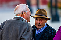 Elderly men talking in the town square, Alhama de Granada,Granada Province, Andalusia, Spain.