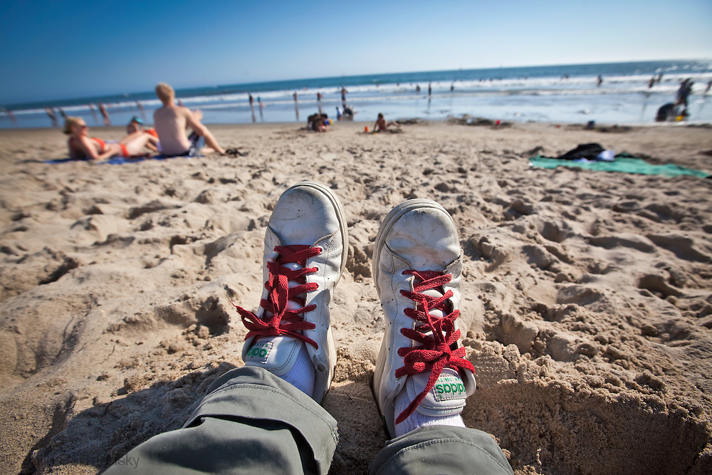 Relaxing on the beach in Santa Monica California,
