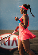 Sloane Stephens (USA) faced Y. Shvedova (KAZ) in day two play of the 2014 Australian Open in Melbourne. Stephens won 7-6, 6-3 in a heat delayed match. Temperatures in Melbourne reached 109.4 F.