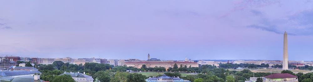 Panoramic View of Washington, DC.  Includes The Capitol, Washington Monument, Smithsonian Mall, The White House, among other Washington, DC landmarks and Washington, DC Monuments..Print Sizes (inches): 15x4; 24x6.5; 36x10; 48x13; 60x16; 72x19