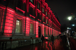London, UK. 31 January, 2020. The Cabinet Office building is illuminated in red on the evening of Brexit Day shortly before the UK leaves the European Union.