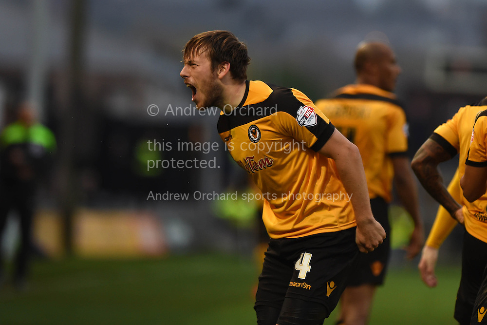 Max Porter of Newport county © celebrates after he scores his teams 2nd goal to make it 2-2.  Skybet football league two match, Newport county v Exeter city at Rodney Parade in Newport, South Wales on Sunday 16th November 2014.<br /> pic by Andrew Orchard, Andrew Orchard sports photography.