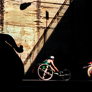 Louise Sauvage (left) in action as Wheelchair athletes compete in a 10-kilometre road race on Australia Day around the rocks area of Sydney. Australia.