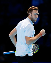 Jack Sock celebrates during his match against Marin Cilic during day three of the NITTO ATP World Tour Finals at the O2 Arena, London.