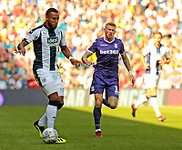 West Bromwich Albion's Matt Phillips gets away from Stoke City's James McClean<br /> <br /> Photographer David Shipman/CameraSport<br /> <br /> The EFL Sky Bet Championship - West Bromwich Albion v Stoke City - Saturday September 1st 2018 - The Hawthorns - West Bromwich<br /> <br /> World Copyright © 2018 CameraSport. All rights reserved. 43 Linden Ave. Countesthorpe. Leicester. England. LE8 5PG - Tel: +44 (0) 116 277 4147 - admin@camerasport.com - www.camerasport.com