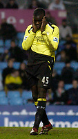 Photo: Glyn Thomas.<br />Aston Villa v Manchester City. The FA Cup. 19/02/2006.<br /> Man City's Micah Richards holds his head in his hands after missing a great chance to score.