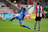 Hartlepool United midfielder Lewis Hawkins (18) stretches for the ball during the EFL Sky Bet League 2 match between Exeter City and Hartlepool United at St James' Park, Exeter, England on 13 August 2016. Photo by Graham Hunt.