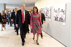 October 9, 2018 -  United Nations Ambassador Nikki Haley will resign from her role in the Trump administration, White House officials announced. PICTURED: Sep 24, 2018 - New York, New York, U.S. - President DONALD TRUMP and U.N. Ambassador NIKKI HALEY arrive Monday, Sept. 24, 2018, to the United Nations Headquarters in New York City, where they participated in the Global Call to Action on the World Drug Problem. (Credit Image: © White House/ZUMA Wire/ZUMAPRESS.com)